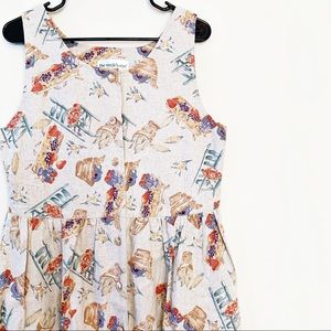 VINTAGE Farm Country Print Picnic Dress Button